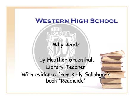 "With evidence from Kelly Gallahger's book ""Readicide"""