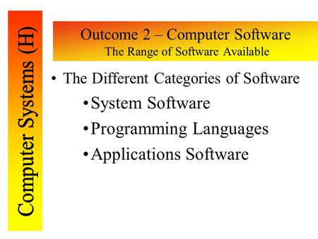 Outcome 2 – Computer Software The Range of Software Available The Different Categories of Software System Software Programming Languages Applications Software.