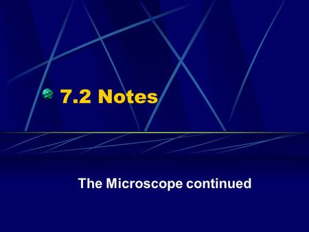 7.2 Notes The Microscope continued. Objectives Appreciate how a polarizing microscope is designed to characterize polarized light Appreciate how a microspectrophotometer.