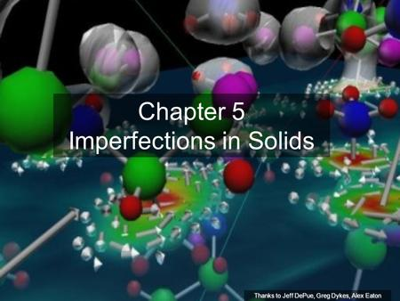 Chapter 5 Imperfections in Solids Thanks to Jeff DePue, Greg Dykes, Alex Eaton.
