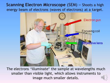 Scanning Electron Microscope (SEM) – Shoots a high energy beam of electrons (waves of electrons) at a target. Electron gun Focusing coil Objective lens.