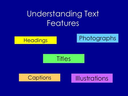 Understanding Text Features Headings Titles Photographs Illustrations Captions.