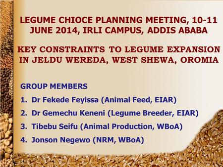 LEGUME CHIOCE PLANNING MEETING, 10-11 JUNE 2014, IRLI CAMPUS, ADDIS ABABA KEY CONSTRAINTS TO LEGUME EXPANSION IN JELDU WEREDA, WEST SHEWA, OROMIA GROUP.