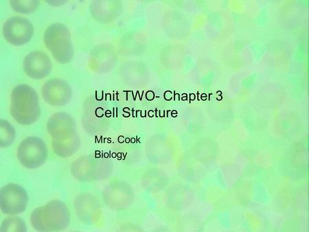 Unit TWO- Chapter 3 Cell Structure Mrs. Cook Biology.