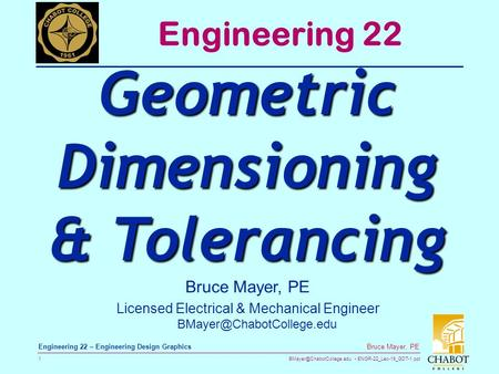 Geometric Dimensioning & Tolerancing