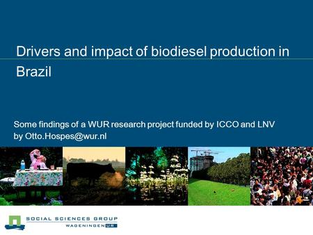 Drivers and impact of biodiesel production in Brazil Some findings of a WUR research project funded by ICCO and LNV by