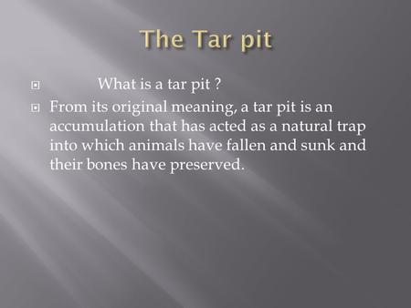  What is a tar pit ?  From its original meaning, a tar pit is an accumulation that has acted as a natural trap into which animals have fallen and sunk.