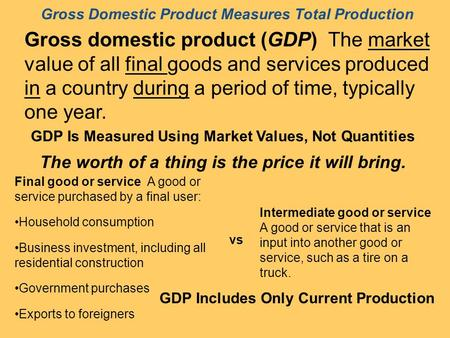 Gross Domestic Product Measures Total Production Gross domestic product (GDP) The market value of all final goods and services produced in a country during.