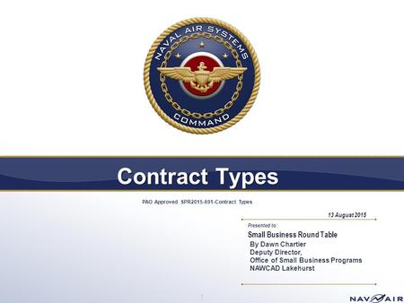 Contract Types PAO Approved SPR Contract Types