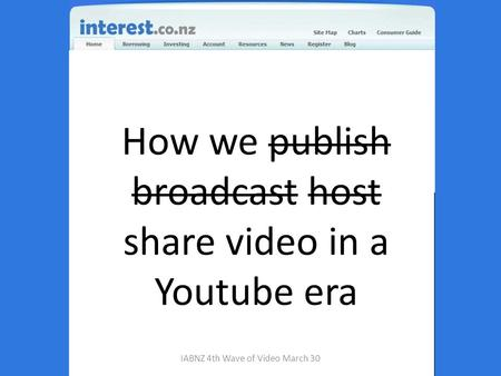 How we publish broadcast host share video in a Youtube era IABNZ 4th Wave of Video March 30.