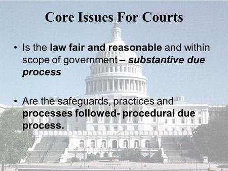 Core Issues For Courts Is the law fair and reasonable and within scope of government – substantive due process Are the safeguards, practices and processes.