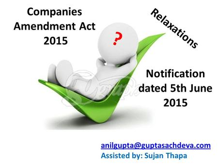 Companies Amendment Act Notification dated 5th June 2015