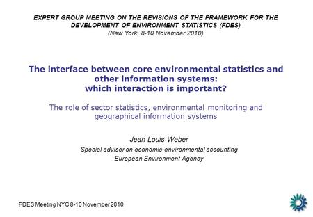 FDES Meeting NYC 8-10 November 2010 The interface between core environmental statistics and other information systems: which interaction is important?