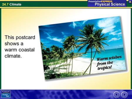 24.7 Climate This postcard shows a warm coastal climate.