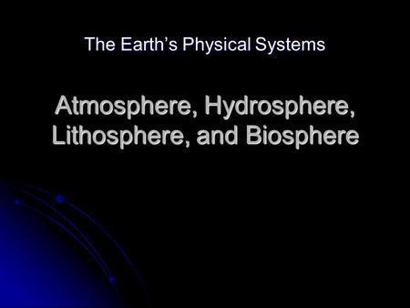 Atmosphere, Hydrosphere, Lithosphere, and Biosphere