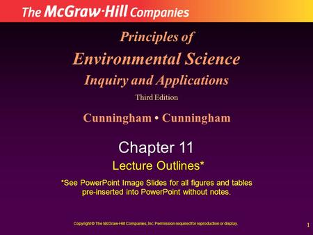 1 Principles of Environmental Science Inquiry and Applications Third Edition Cunningham Chapter 11 Lecture Outlines* *See PowerPoint Image Slides for all.
