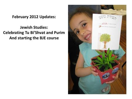 February 2012 Updates: Jewish Studies: Celebrating Tu Bi'Shvat and Purim And starting the BJE course.