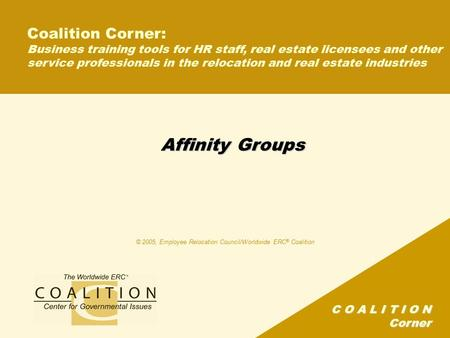 C O A L I T I O N Corner Affinity Groups Coalition Corner: Business training tools for HR staff, real estate licensees and other service professionals.