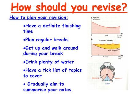 How to plan your revision:  Have a definite finishing time  Plan regular breaks  Get up and walk around during your break  Drink plenty of water 