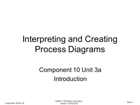 Component 10/Unit 3a Slide 1 Health IT Workforce Curriculum Version 1.0/Fal 2010 Interpreting and Creating Process Diagrams Component 10 Unit 3a Introduction.
