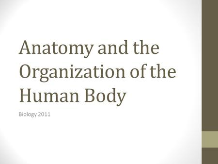 Anatomy and the Organization of the Human Body Biology 2011.