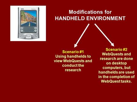 Modifications for HANDHELD ENVIRONMENT Scenario #1 Using handhelds to view WebQuests and conduct the research Scenario #2 WebQuests and research are done.