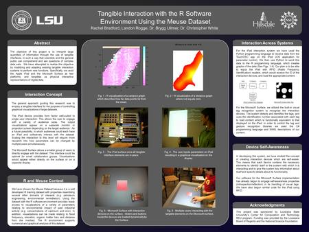 ` Tangible Interaction with the R Software Environment Using the Meuse Dataset Rachel Bradford, Landon Rogge, Dr. Brygg Ullmer, Dr. Christopher White `