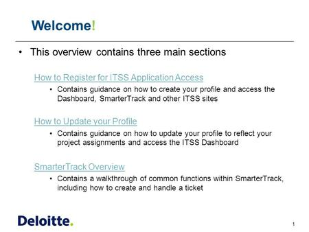 1 ITSS This overview contains three main sections How to Register for ITSS Application Access Contains guidance on how to create your profile and access.