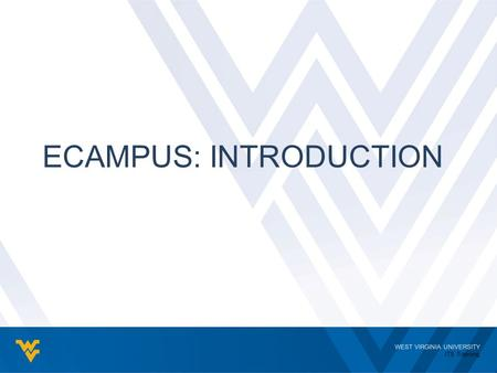 WEST VIRGINIA UNIVERSITY ITS Training ECAMPUS: INTRODUCTION.