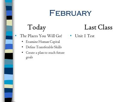 February Today Last Class The Places You Will Go! Unit 1 Test