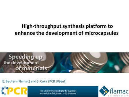 Int. Conference on high-throughput materials R&D, Ghent – June