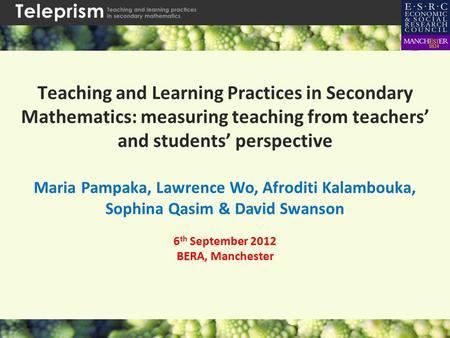 Teaching and Learning Practices in Secondary Mathematics: measuring teaching from teachers' and students' perspective Maria Pampaka, Lawrence Wo, Afroditi.