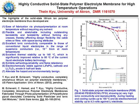 Highly Conductive Solid-State Polymer Electrolyte Membrane for High Temperature Operations Thein Kyu, University of Akron, DMR 1161070 The highlights of.