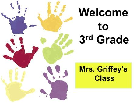Welcome to 3 rd Grade Mrs. Griffey's Class. 3 rd Grade Information Packet Welcome letter and contact information. (phone number, email, and blog) All.