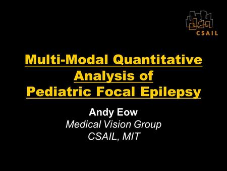 Multi-Modal Quantitative Analysis of Pediatric Focal Epilepsy Andy Eow Medical Vision Group CSAIL, MIT.