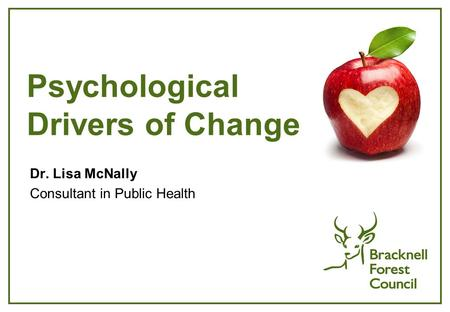 Psychological Drivers of Change Dr. Lisa McNally Consultant in Public Health.