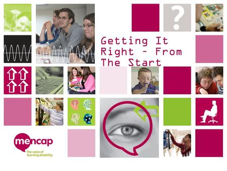 Getting It Right – From The Start. Background Getting it right The Mencap campaign.
