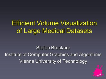 Efficient Volume Visualization of Large Medical Datasets Stefan Bruckner Institute of Computer Graphics and Algorithms Vienna University of Technology.