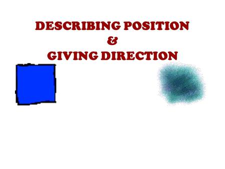 DESCRIBING POSITION & GIVING DIRECTION. PREPOSITIONS OF PLACE Between Near Opposite On the corner.
