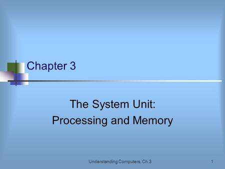 Understanding Computers, Ch.31 Chapter 3 The System Unit: Processing and Memory.