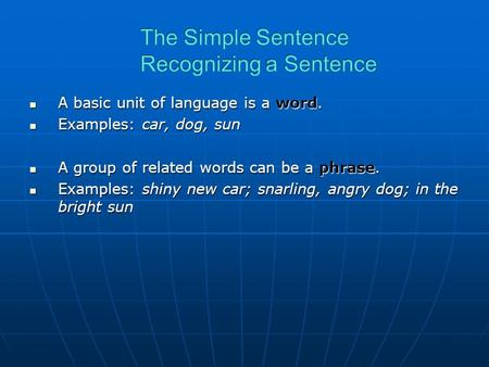 A basic unit of language is a word. A basic unit of language is a word. Examples: car, dog, sun Examples: car, dog, sun A group of related words can be.
