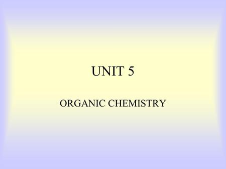 UNIT 5 ORGANIC CHEMISTRY What makes a compound organic? Organic compounds –Contain both carbon and hydrogen, Ex. C 6 H 12 O 6 Inorganic compounds –Do.