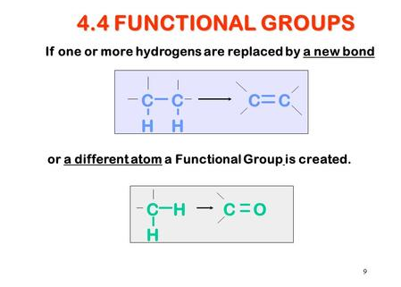 9 4.4 FUNCTIONAL GROUPS If one or more hydrogens are replaced by a new bond CH H CO CCCC HH or a different atom a Functional Group is created.