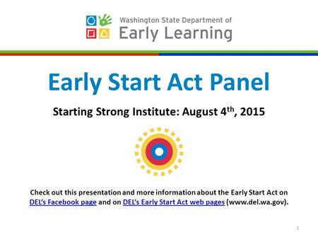 1 Early Start Act Panel Starting Strong Institute: August 4 th, 2015 Check out this presentation and more information about the Early Start Act on DEL's.