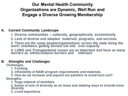 Our Mental Health Community Organizations are Dynamic, Well Run and Engage a Diverse Growing Membership A.Current Community Landscape 1. Diverse communities.