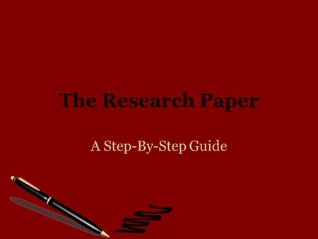 The Research Paper A Step-By-Step Guide. Step Three The Formal Sentence Outline.