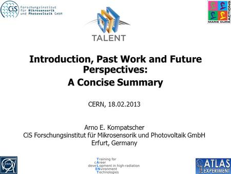 Introduction, Past Work and Future Perspectives: A Concise Summary CERN, 18.02.2013 Arno E. Kompatscher CiS Forschungsinstitut für Mikrosensorik und Photovoltaik.