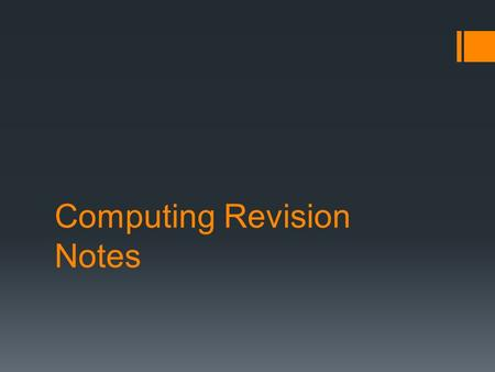 Computing Revision Notes. Index Software System Software Internet.