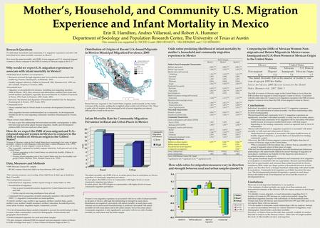 Mother's, Household, and Community U.S. Migration Experience and Infant Mortality in Mexico Erin R. Hamilton, Andres Villarreal, and Robert A. Hummer Department.