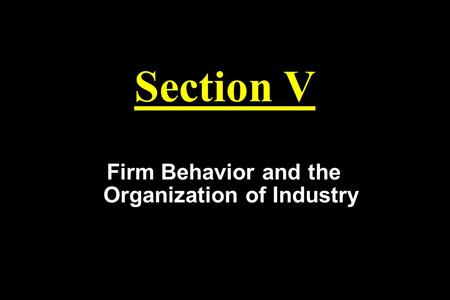 Section V Firm Behavior and the Organization of Industry.